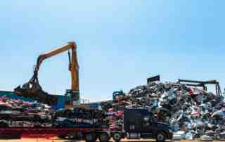 Unloading Scrap Cars from Truck